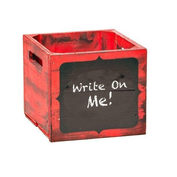 "8"" Wooden Chalkboard Box (Carmine Red / Glaze Black)"