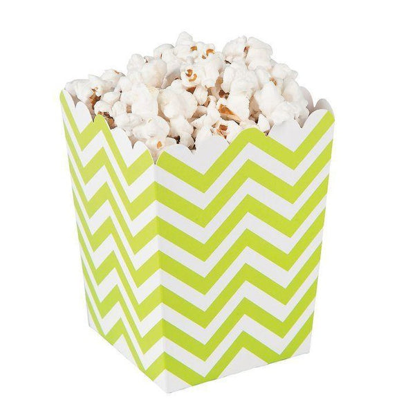 Mini Chevron Popcorn Boxes - Lime