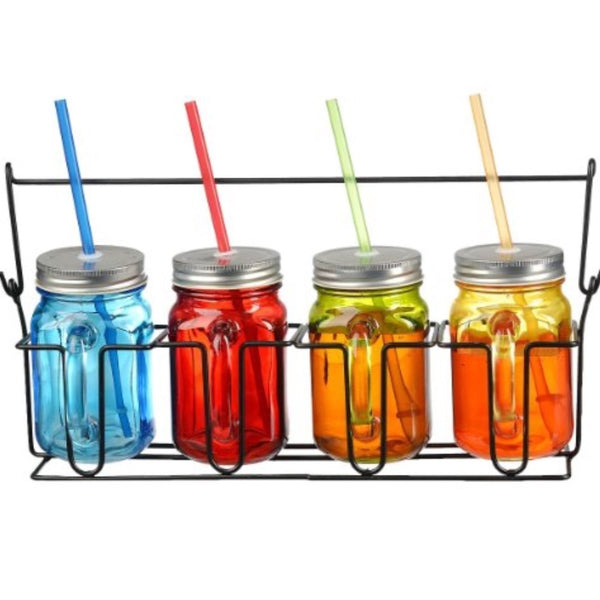 Zeesline Colored Glass Mason Jars Mugs With Handles