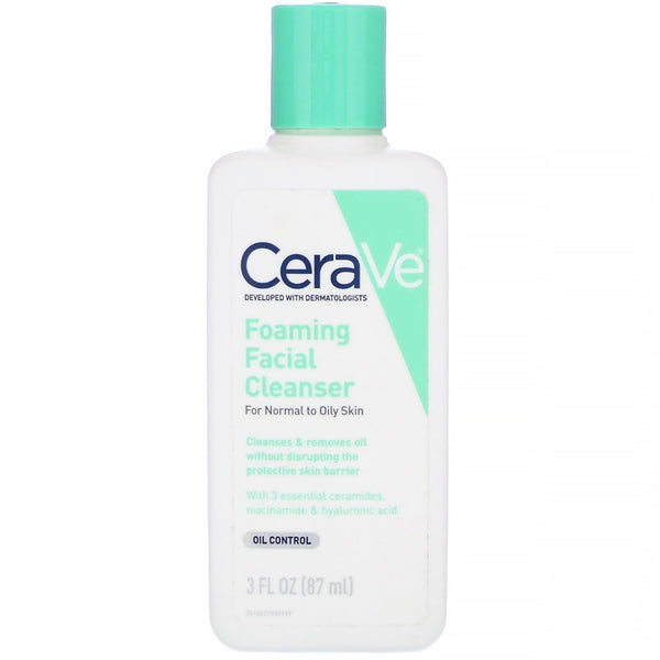 CeraVe - Foaming Facial Cleanser, For Normal to Oily Skin, 3 fl oz (87 ml)
