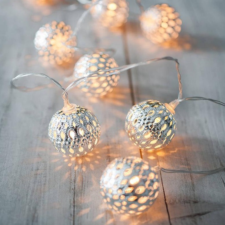 10 Silver Mini Moroccan Battery Fairy Lights