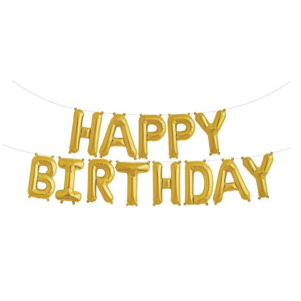 Happy Birthday Letter Foil Balloon Set - Gold -