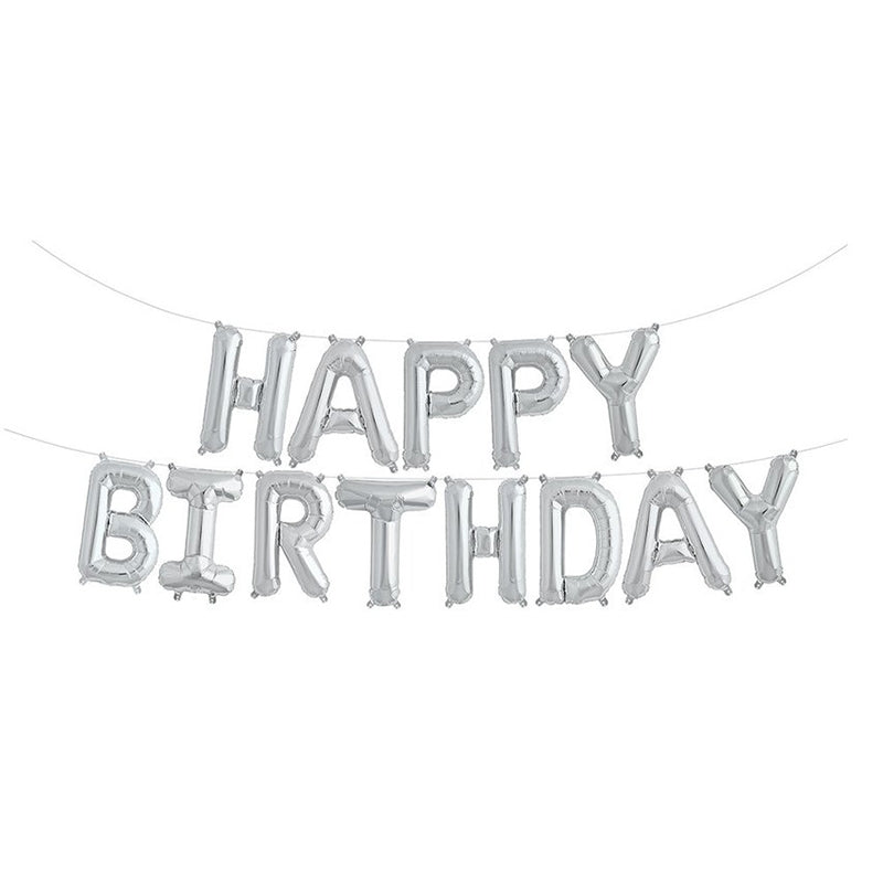Happy Birthday Letter Foil Balloon Set - Silver -