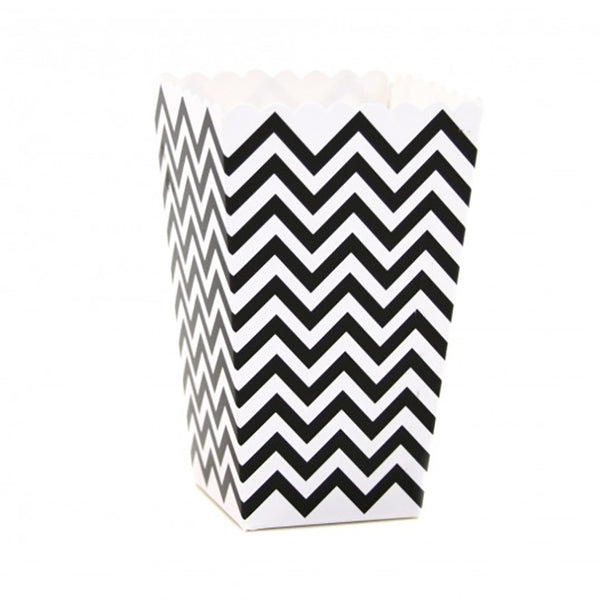 Chevron Popcorn Boxes - Black -