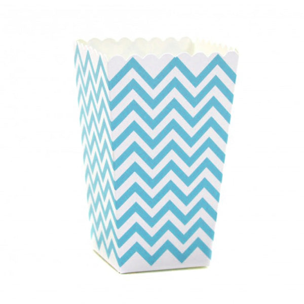 Chevron Popcorn Boxes - Blue -