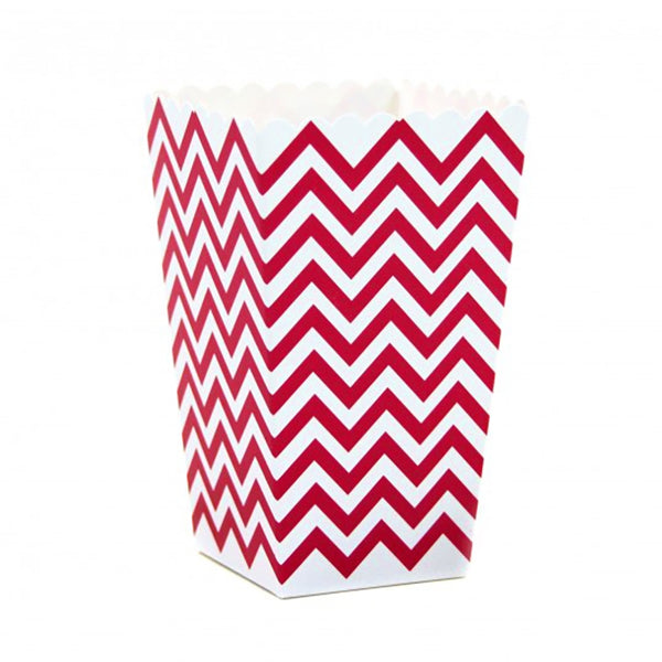 Chevron Popcorn Boxes - Red -