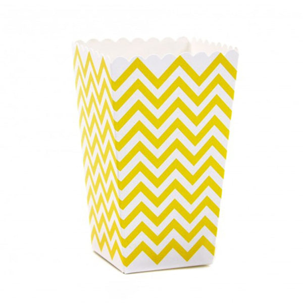 Chevron Popcorn Boxes - Yellow -