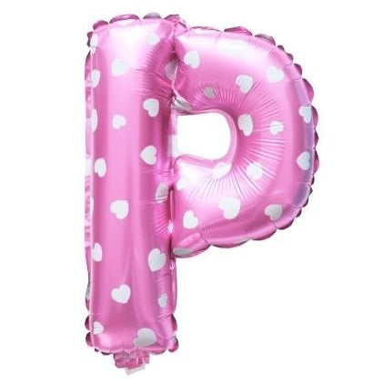 P Letter Pink Hearts Balloon â 16 Inch