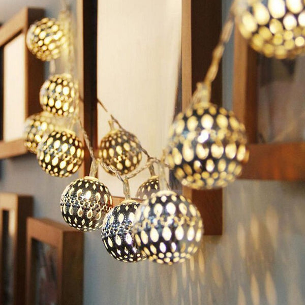 10 Silver Moroccan Orb Battery Fairy Lights