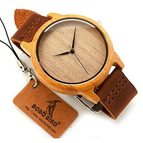 Image of Little Bumper Accessories Fashion Luxury Round Bamboo Wristwatch in Gift Box