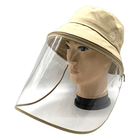 Image of Little Bumper Accessories S/M (Child) / Beige Bucket Hat Cotton Outdoor Protective Hats with Detachable Face Shield