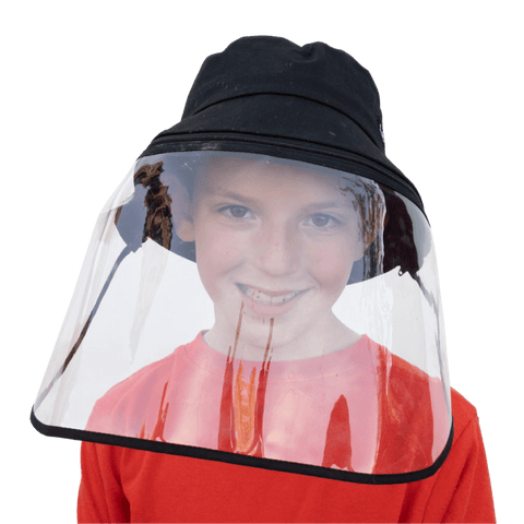 Image of Little Bumper Accessories S/M (Child) / Black Bucket Hat Cotton Outdoor Protective Hats with Detachable Face Shield