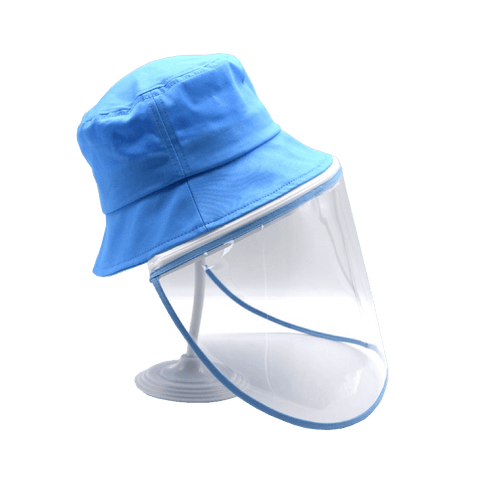 Image of Little Bumper Accessories S/M (Child) / Blue Bucket Hat Cotton Outdoor Protective Hats with Detachable Face Shield