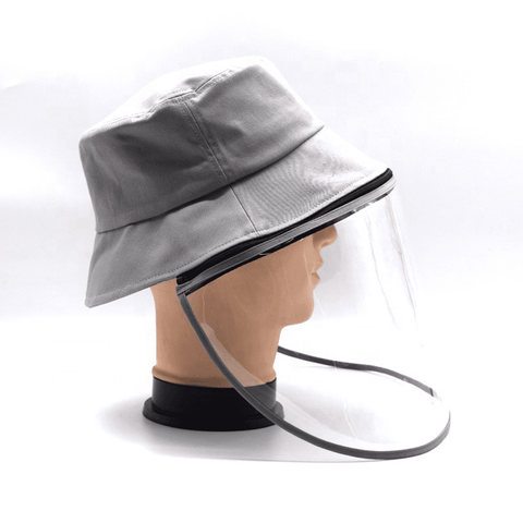 Little Bumper Accessories S/M (Child) / Gray Bucket Hat Cotton Outdoor Protective Hats with Detachable Face Shield