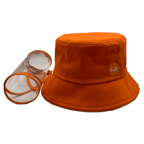 Image of Little Bumper Accessories S/M (Child) / Orange Bucket Hat Cotton Outdoor Protective Hats with Detachable Face Shield