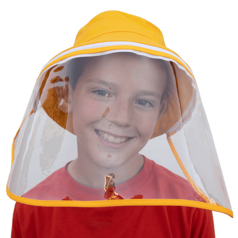 Image of Little Bumper Accessories S/M (Child) / Yellow Bucket Hat Cotton Outdoor Protective Hats with Detachable Face Shield