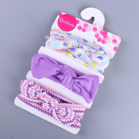 Little Bumper Baby Accessories A / United States Floral Bow baby headbands 3Pcs.