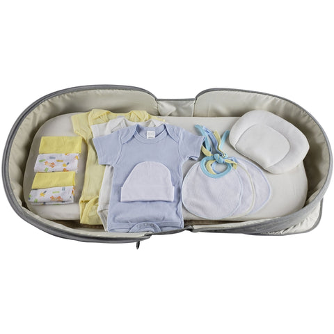 Image of Little Bumper Baby Accessories Boys 12 pc Baby Clothing Starter Set with Portable Changing Table/Diaper Bag