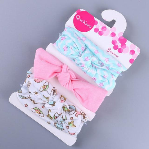 Little Bumper Baby Accessories C / United States Floral Bow baby headbands 3Pcs.