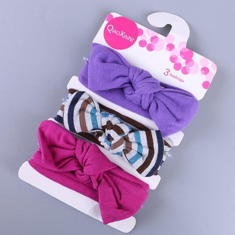 Little Bumper Baby Accessories D / United States Floral Bow baby headbands 3Pcs.