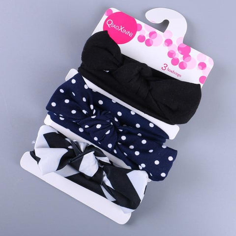 Little Bumper Baby Accessories E / United States Floral Bow baby headbands 3Pcs.