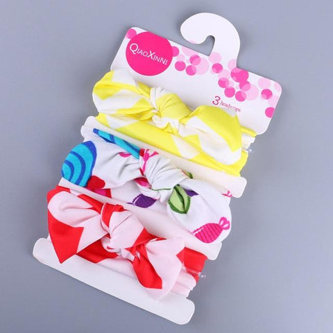 Little Bumper Baby Accessories G / United States Floral Bow baby headbands 3Pcs.