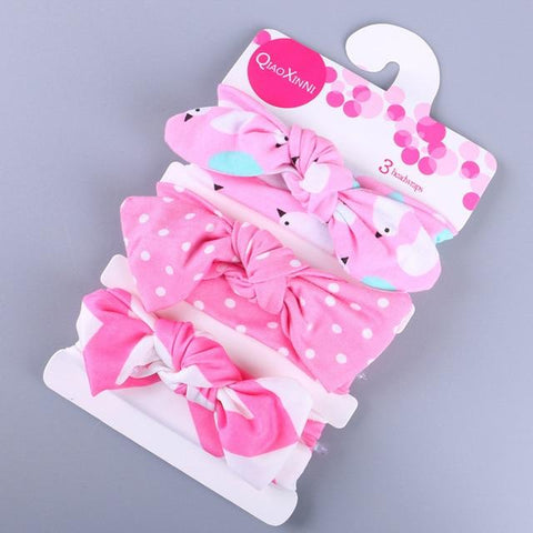 Little Bumper Baby Accessories H / United States Floral Bow baby headbands 3Pcs.