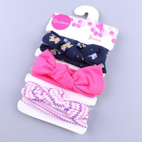 Little Bumper Baby Accessories M / United States Floral Bow baby headbands 3Pcs.