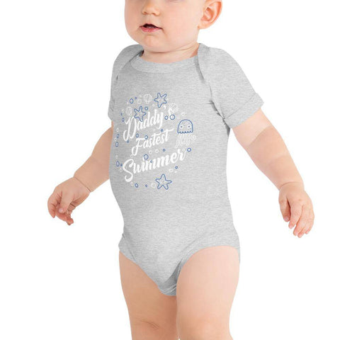 Image of Little Bumper Baby Bodysuit Athletic Heather / 3-6m Daddy's Fastest Swimmer Baby Bodysuit