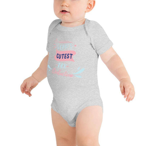 Image of Little Bumper Baby Bodysuit Athletic Heather / 3-6m World's Cutest Tax Deduction Baby Bodysuit