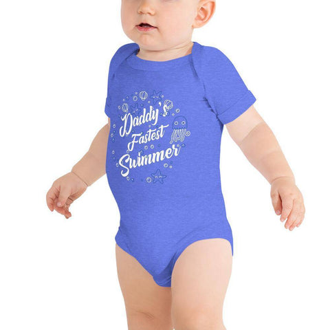 Image of Little Bumper Baby Bodysuit Heather Columbia Blue / 3-6m Daddy's Fastest Swimmer Baby Bodysuit