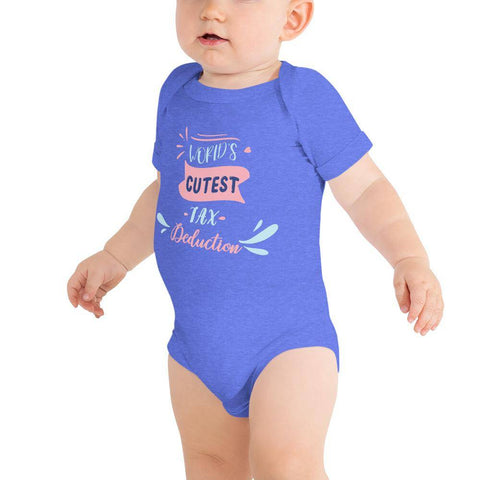 Image of Little Bumper Baby Bodysuit Heather Columbia Blue / 3-6m World's Cutest Tax Deduction Baby Bodysuit