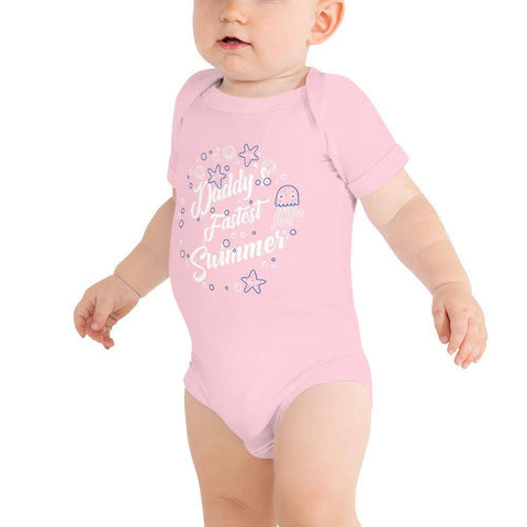 Image of Little Bumper Baby Bodysuit Pink / 3-6m Daddy's Fastest Swimmer Baby Bodysuit