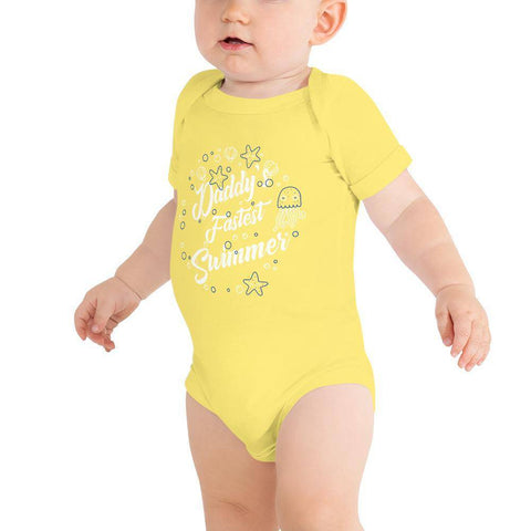 Image of Little Bumper Baby Bodysuit Yellow / 3-6m Daddy's Fastest Swimmer Baby Bodysuit