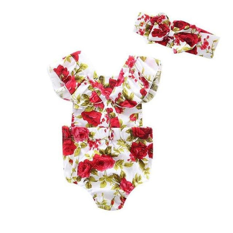Image of Little Bumper Baby Clothes A / 18M / United States Floral Romper Set 2pcs.