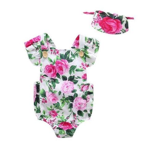 Image of Little Bumper Baby Clothes B / 12M / United States Floral Romper Set 2pcs.