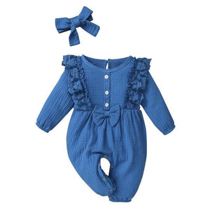 Little Bumper Baby Clothes Blue / 18M / United States Bow One Piece Jumpsuit Outfits