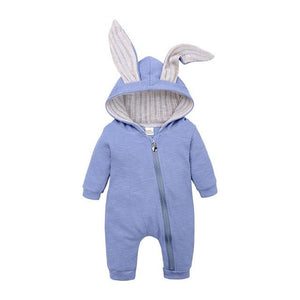 Little Bumper Baby Clothes Blue / 3M Bunny Hoodie Baby Rompers