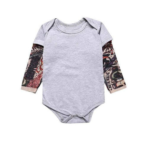 Little Bumper Baby Clothes Gray / 18M / United States Tattoo Printed Long Sleeve Patchwork Romper