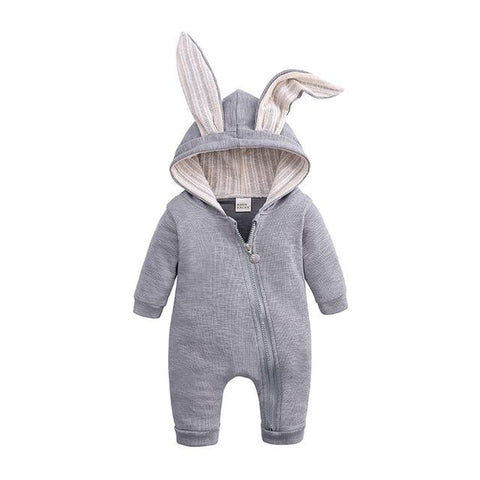 Image of Little Bumper Baby Clothes Gray / 3M Bunny Hoodie Baby Rompers