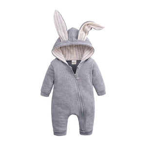 Little Bumper Baby Clothes Gray / 3M Bunny Hoodie Baby Rompers
