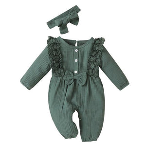 Little Bumper Baby Clothes Green / 18M / United States Bow One Piece Jumpsuit Outfits