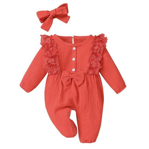 Little Bumper Baby Clothes Orange / 18M / United States Bow One Piece Jumpsuit Outfits