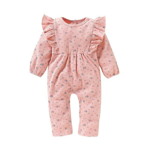 Image of Little Bumper Baby Clothes Pink / 12-18 Months / United States Long Sleeve Ruffles Floral Print Jumpsuit
