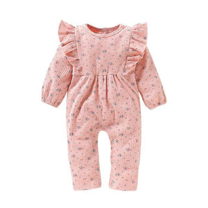 Little Bumper Baby Clothes Pink / 12-18 Months / United States Long Sleeve Ruffles Floral Print Jumpsuit