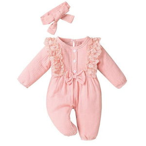 Little Bumper Baby Clothes Pink / 18M / United States Bow One Piece Jumpsuit Outfits