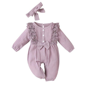 Little Bumper Baby Clothes Purple / 18M / United States Bow One Piece Jumpsuit Outfits