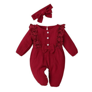 Little Bumper Baby Clothes Red / 18M / United States Bow One Piece Jumpsuit Outfits