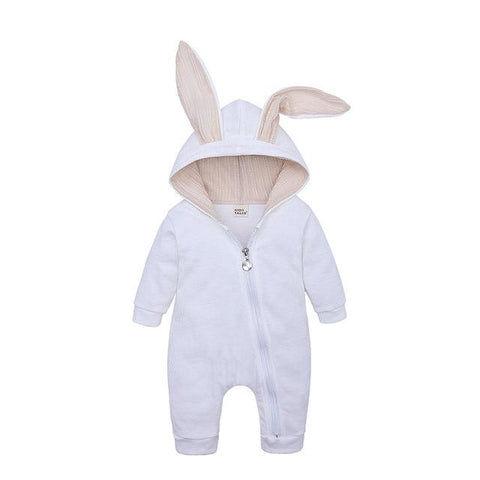 Image of Little Bumper Baby Clothes White / 3M Bunny Hoodie Baby Rompers