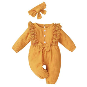 Little Bumper Baby Clothes YELLOW / 18M / United States Bow One Piece Jumpsuit Outfits